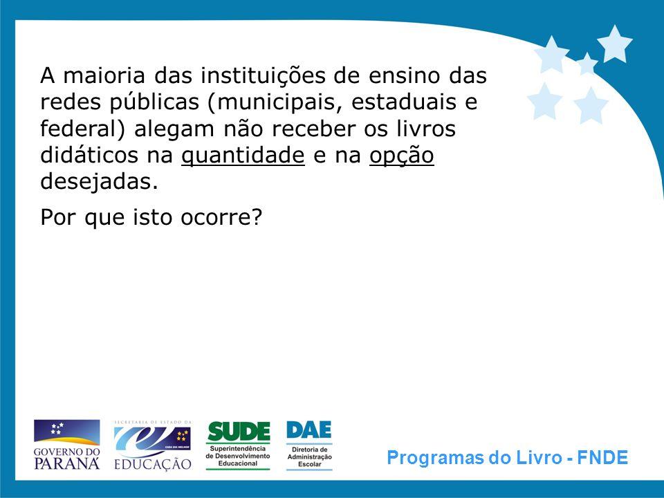 A maioria das instituições de ensino das redes públicas (municipais, estaduais e federal) alegam não receber os livros didáticos na quantidade e na opção desejadas.