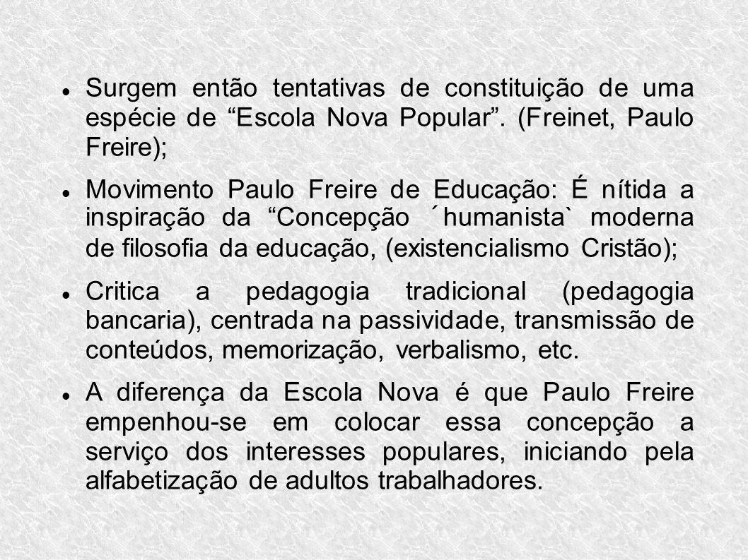 Surgem então tentativas de constituição de uma espécie de Escola Nova Popular . (Freinet, Paulo Freire);