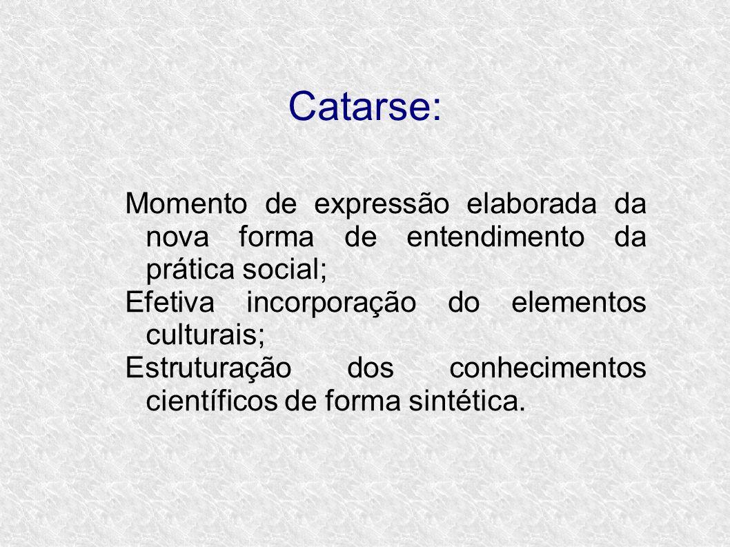 Catarse: Momento de expressão elaborada da nova forma de entendimento da prática social; Efetiva incorporação do elementos culturais;