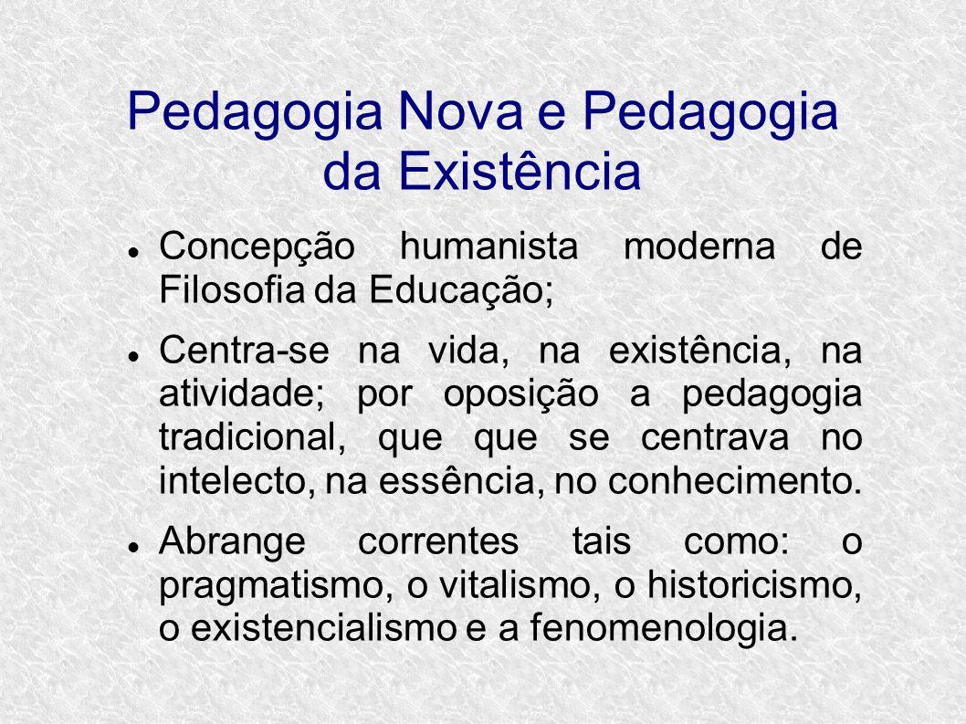 Pedagogia Nova e Pedagogia da Existência