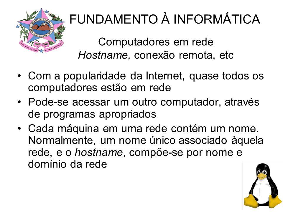 Computadores em rede Hostname, conexão remota, etc