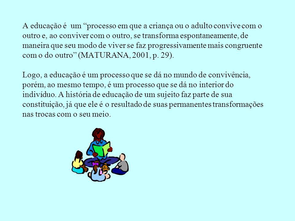 A educação é um processo em que a criança ou o adulto convive com o outro e, ao conviver com o outro, se transforma espontaneamente, de maneira que seu modo de viver se faz progressivamente mais congruente com o do outro (MATURANA, 2001, p.