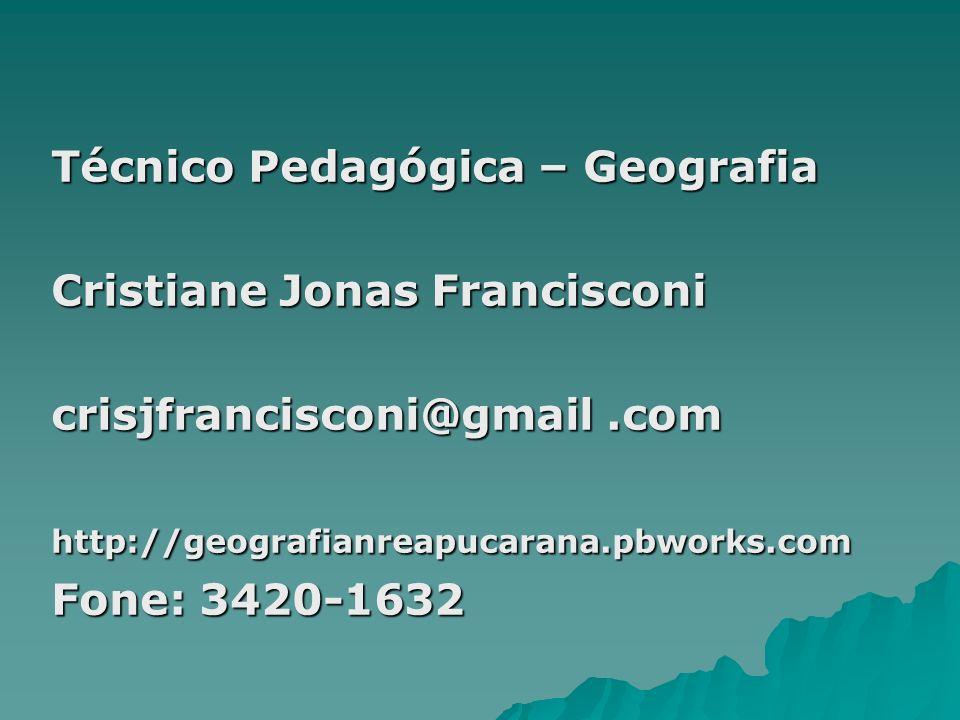 Técnico Pedagógica – Geografia Cristiane Jonas Francisconi