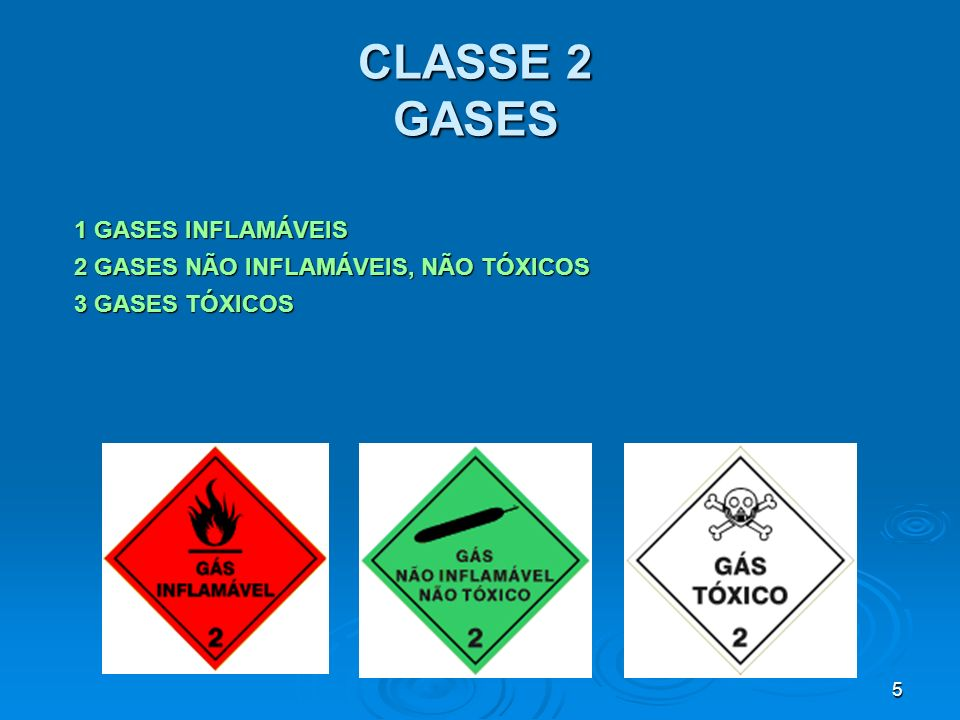 CLASSE 2 GASES 1 GASES INFLAMÁVEIS