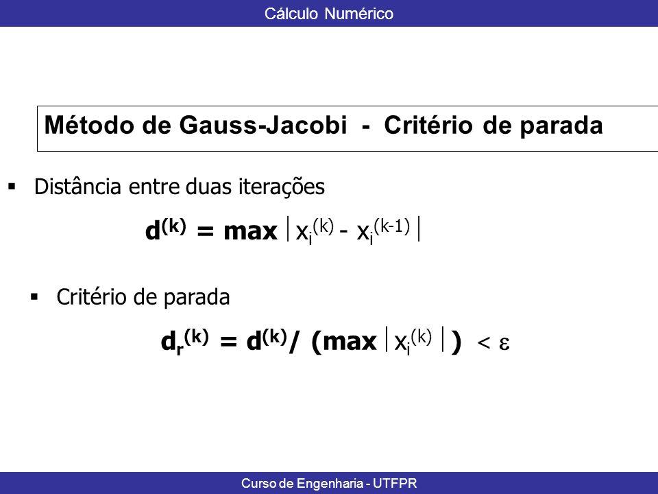 Método de Gauss-Jacobi - Critério de parada