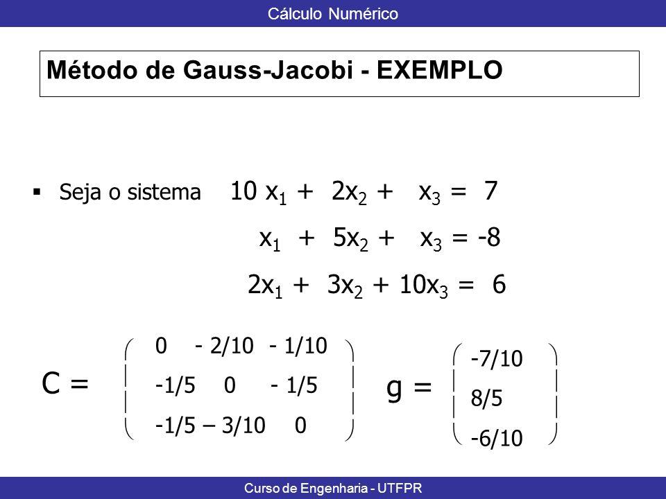 C = g = Método de Gauss-Jacobi - EXEMPLO 2x1 + 3x2 + 10x3 = 6