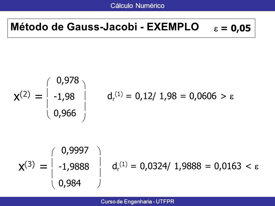 x(2) = x(3) = Método de Gauss-Jacobi - EXEMPLO  = 0,05 0,978  -1,98