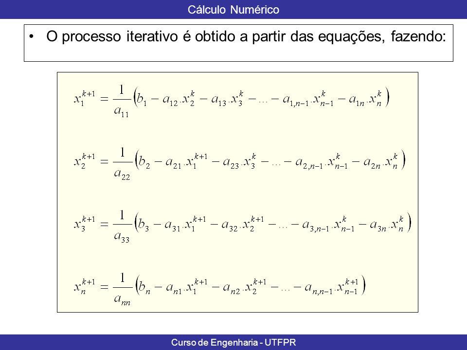 O processo iterativo é obtido a partir das equações, fazendo: