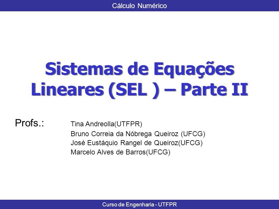 Sistemas de Equações Lineares (SEL ) – Parte II