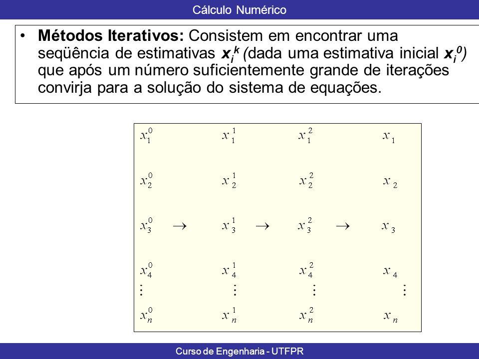 Métodos Iterativos: Consistem em encontrar uma seqüência de estimativas xik (dada uma estimativa inicial xi0) que após um número suficientemente grande de iterações convirja para a solução do sistema de equações.