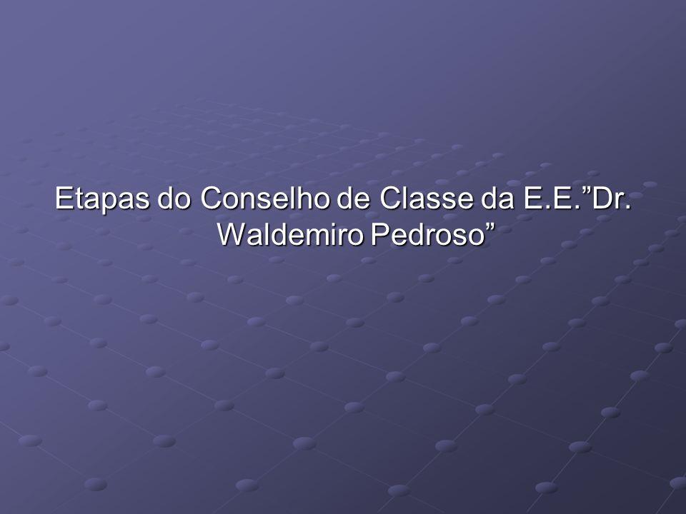 Etapas do Conselho de Classe da E.E. Dr. Waldemiro Pedroso