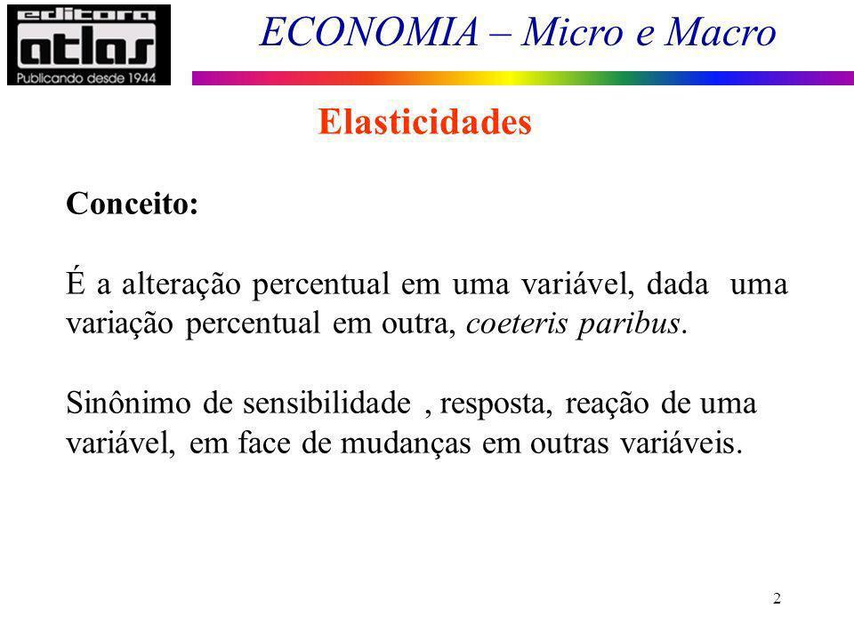 Elasticidades Conceito:
