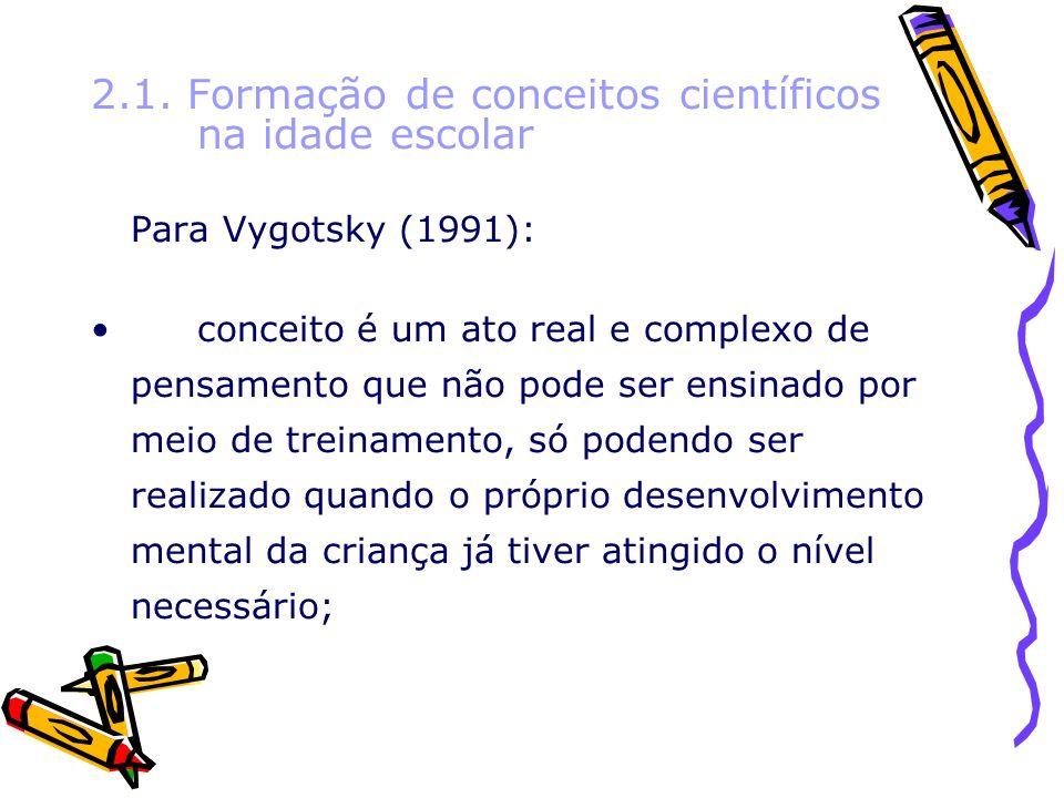 2.1. Formação de conceitos científicos na idade escolar
