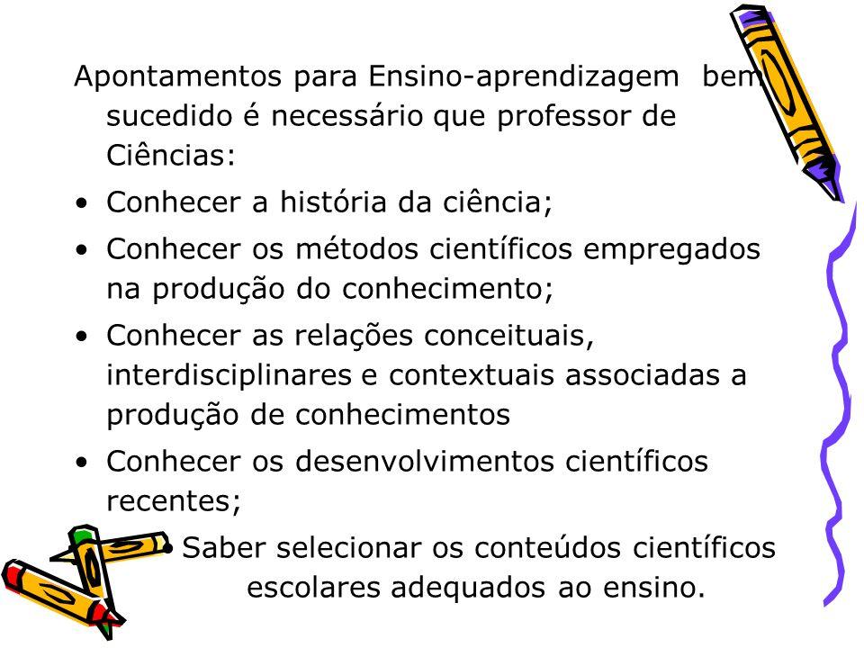 Apontamentos para Ensino-aprendizagem bem sucedido é necessário que professor de Ciências: