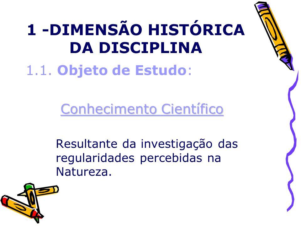 1 -DIMENSÃO HISTÓRICA DA DISCIPLINA