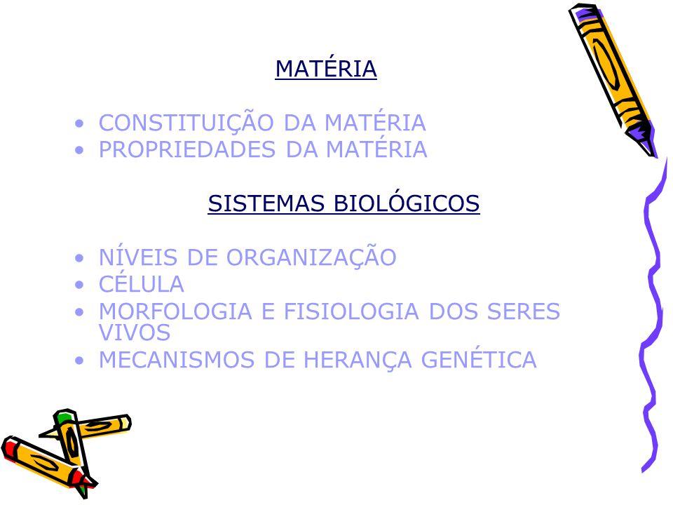 MATÉRIA CONSTITUIÇÃO DA MATÉRIA. PROPRIEDADES DA MATÉRIA. SISTEMAS BIOLÓGICOS. NÍVEIS DE ORGANIZAÇÃO.