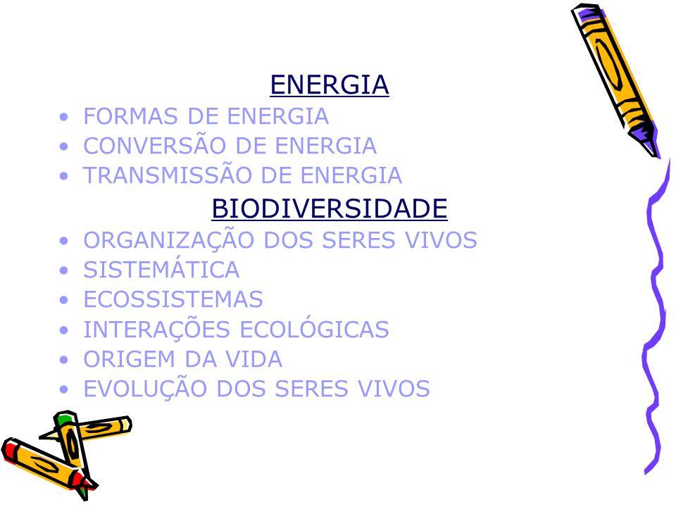 ENERGIA BIODIVERSIDADE FORMAS DE ENERGIA CONVERSÃO DE ENERGIA