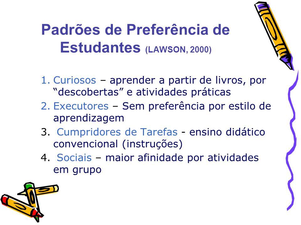 Padrões de Preferência de Estudantes (LAWSON, 2000)