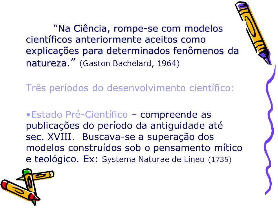Na Ciência, rompe-se com modelos científicos anteriormente aceitos como explicações para determinados fenômenos da natureza. (Gaston Bachelard, 1964)