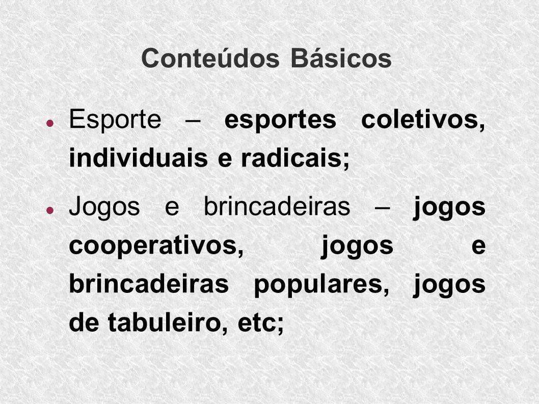 Conteúdos Básicos Esporte – esportes coletivos, individuais e radicais;