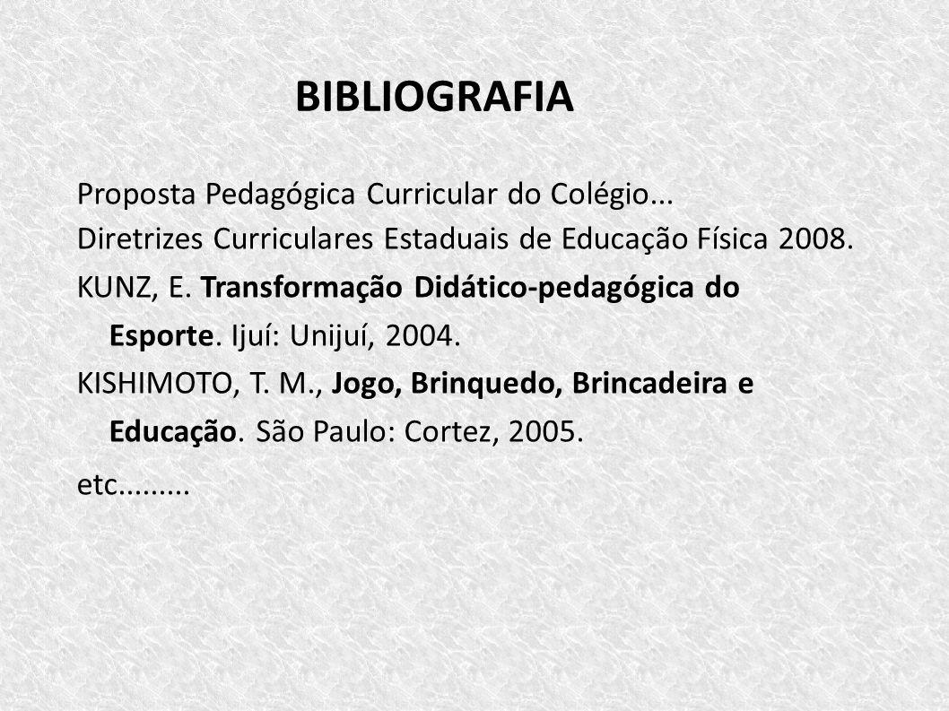 BIBLIOGRAFIA Proposta Pedagógica Curricular do Colégio...