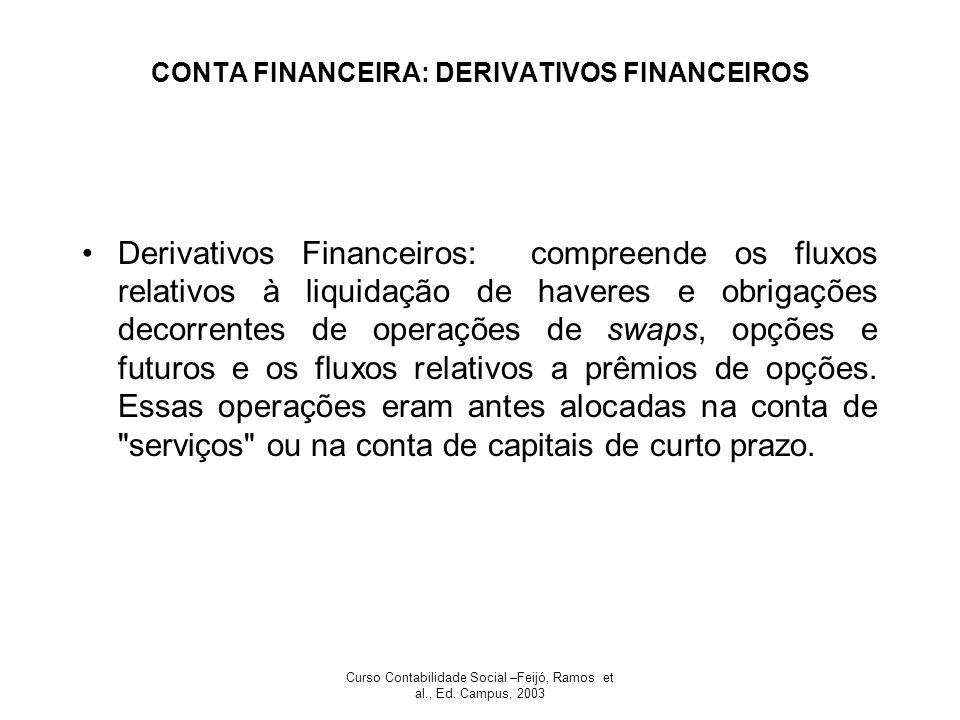 CONTA FINANCEIRA: DERIVATIVOS FINANCEIROS