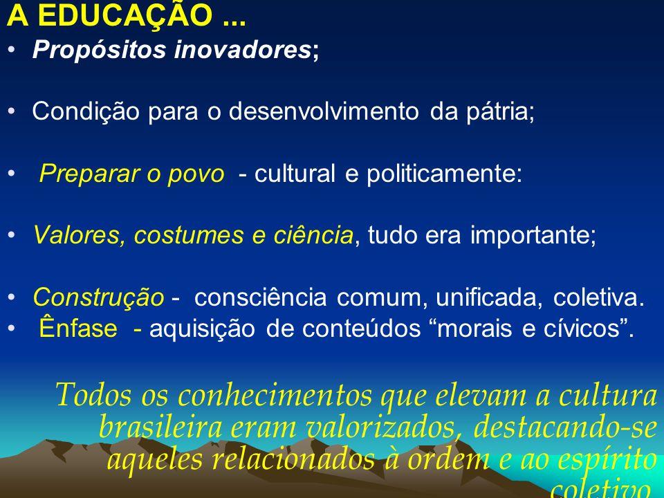 A EDUCAÇÃO ... Propósitos inovadores; Condição para o desenvolvimento da pátria; Preparar o povo - cultural e politicamente: