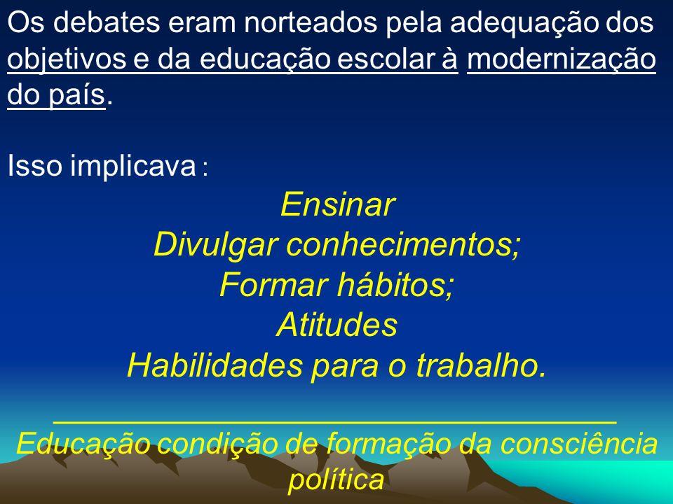 Divulgar conhecimentos; Formar hábitos; Atitudes
