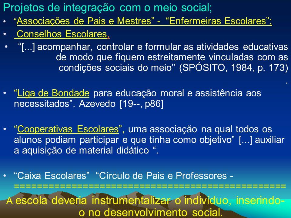 Projetos de integração com o meio social;