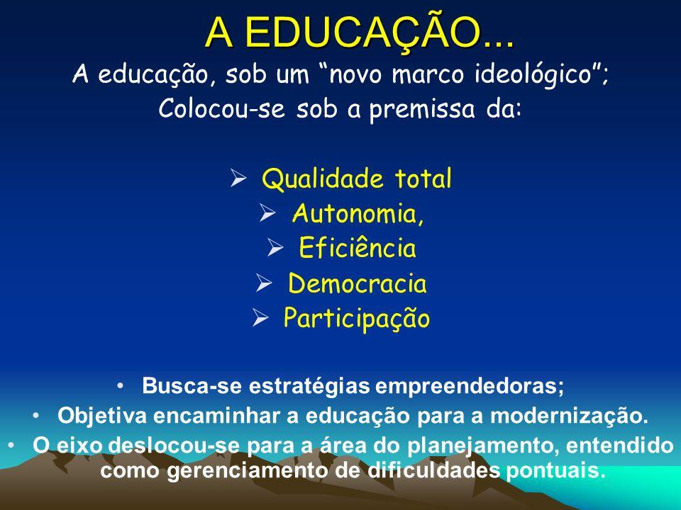 A EDUCAÇÃO... A educação, sob um novo marco ideológico ;