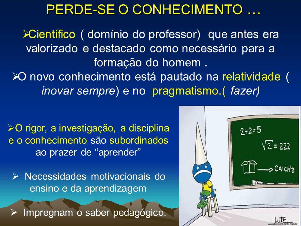 PERDE-SE O CONHECIMENTO ...
