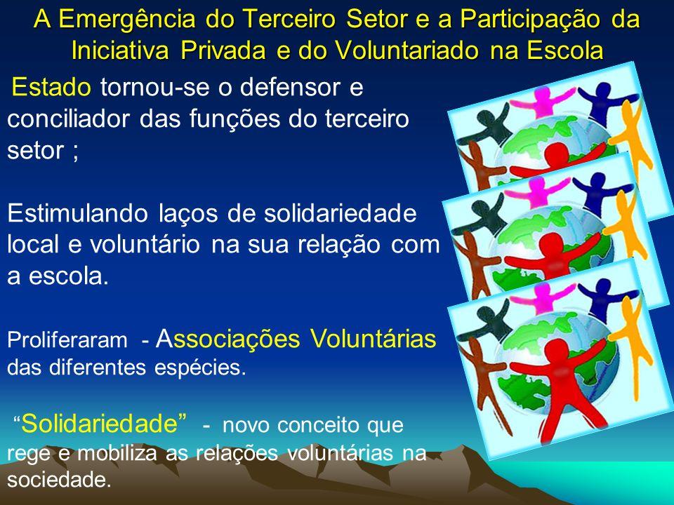 A Emergência do Terceiro Setor e a Participação da Iniciativa Privada e do Voluntariado na Escola