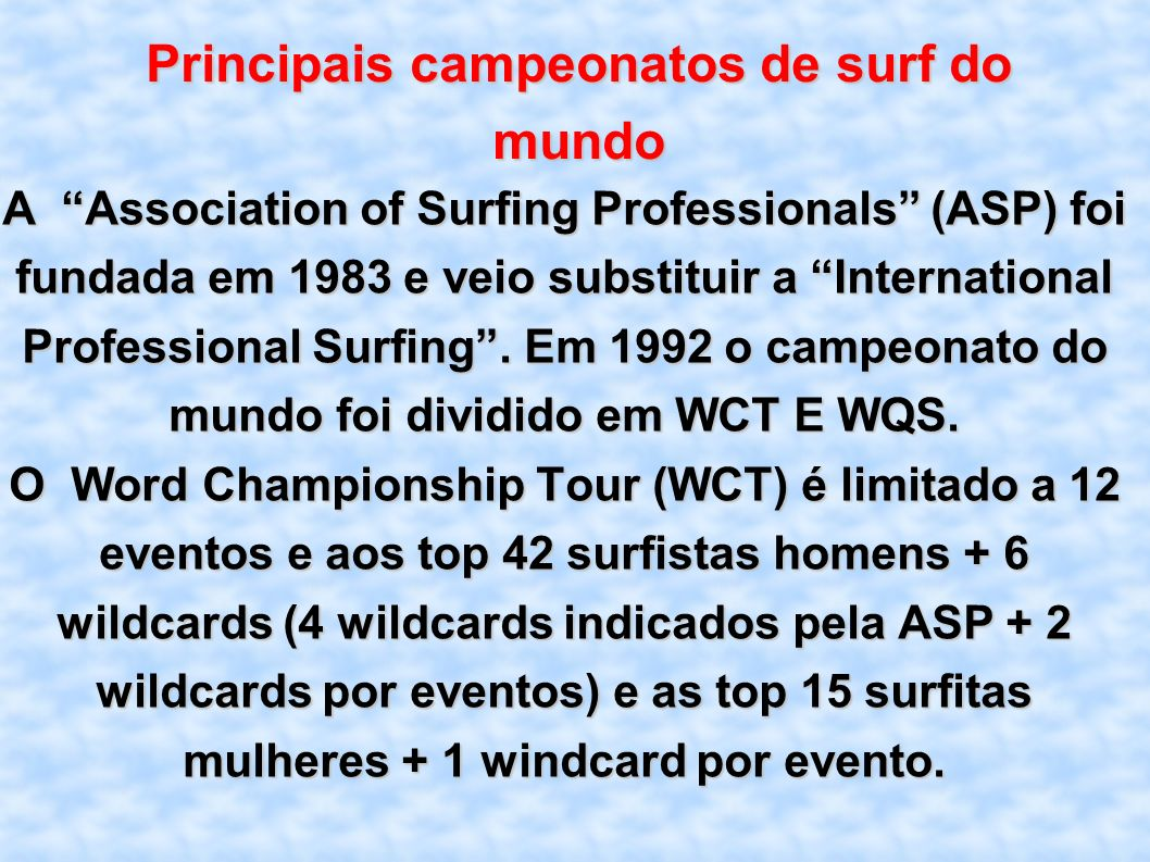 Principais campeonatos de surf do mundo