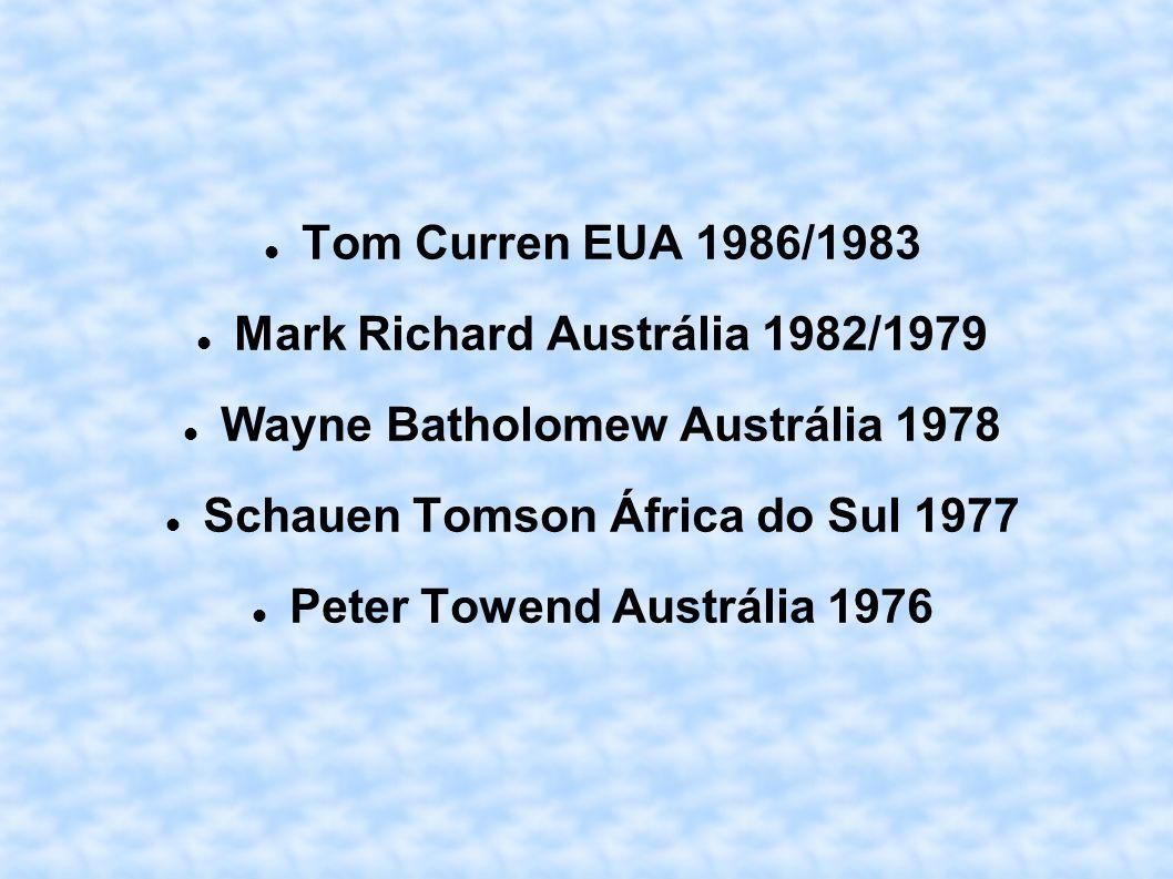 Mark Richard Austrália 1982/1979 Wayne Batholomew Austrália 1978