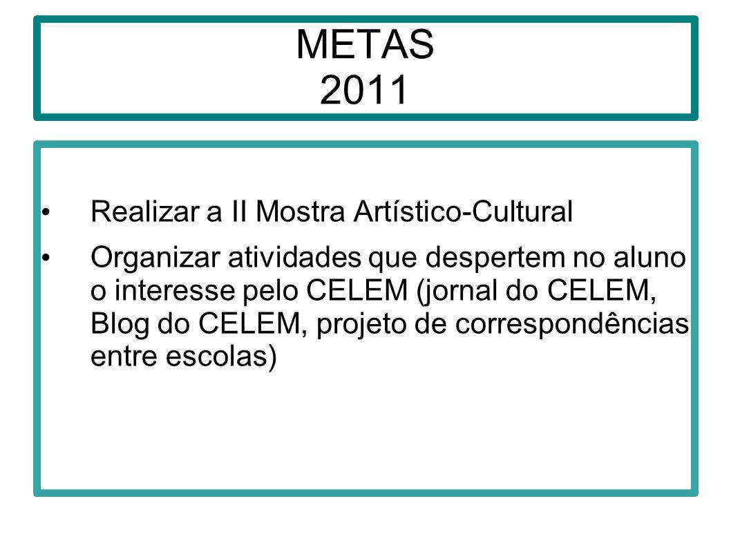 METAS 2011 Realizar a II Mostra Artístico-Cultural