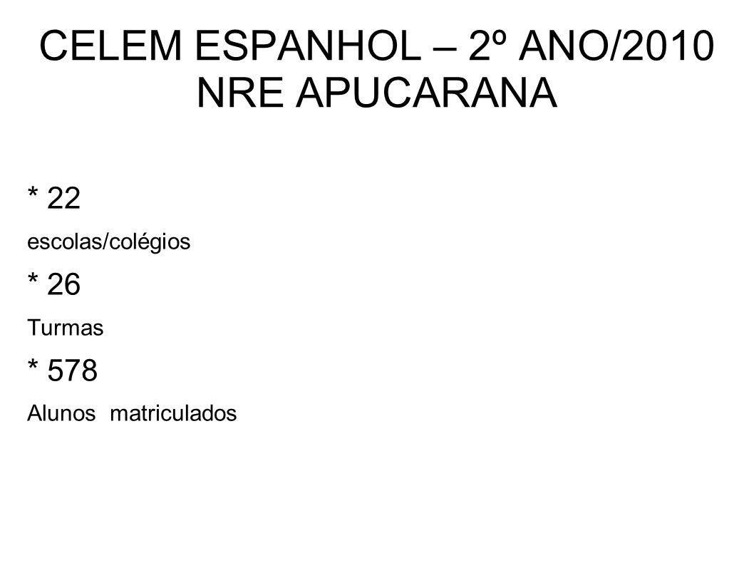 CELEM ESPANHOL – 2º ANO/2010 NRE APUCARANA