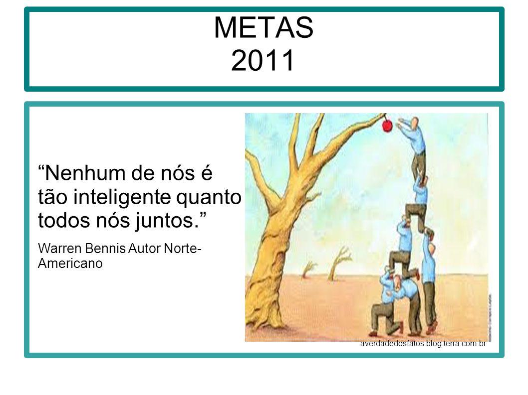 METAS 2011 Nenhum de nós é tão inteligente quanto todos nós juntos.