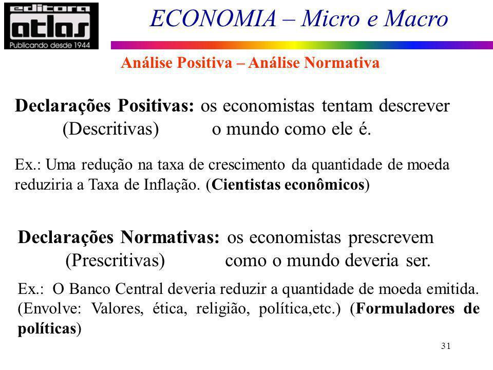 Declarações Positivas: os economistas tentam descrever