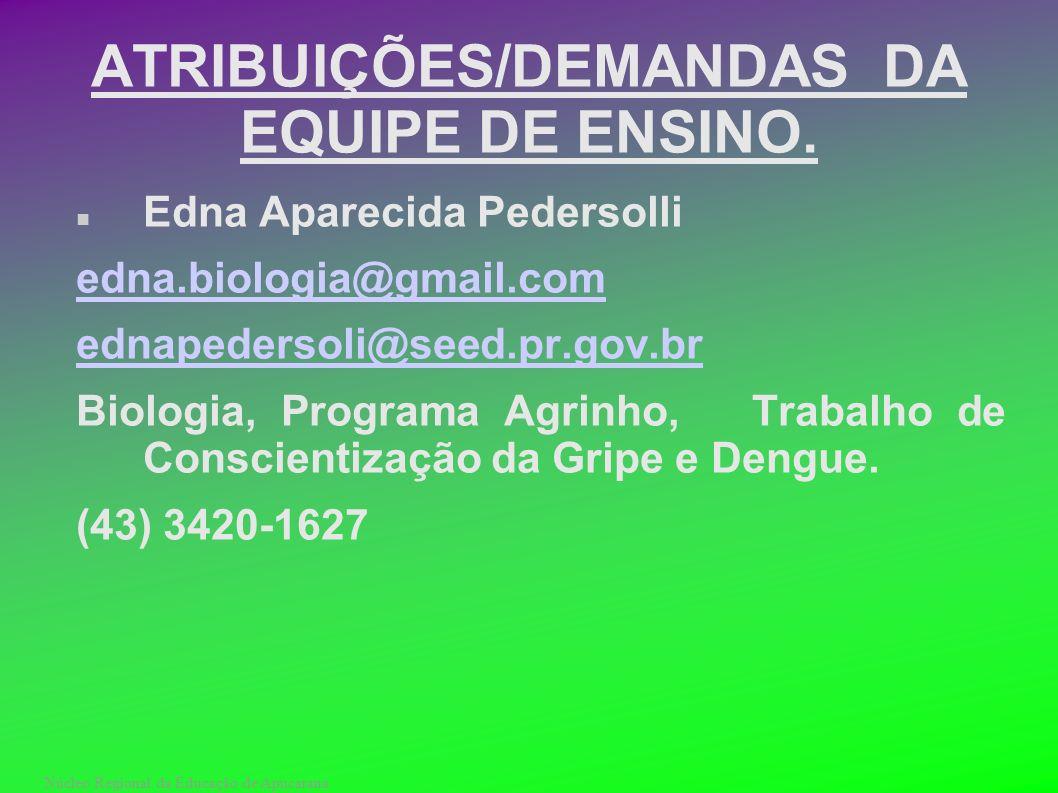 ATRIBUIÇÕES/DEMANDAS DA EQUIPE DE ENSINO.
