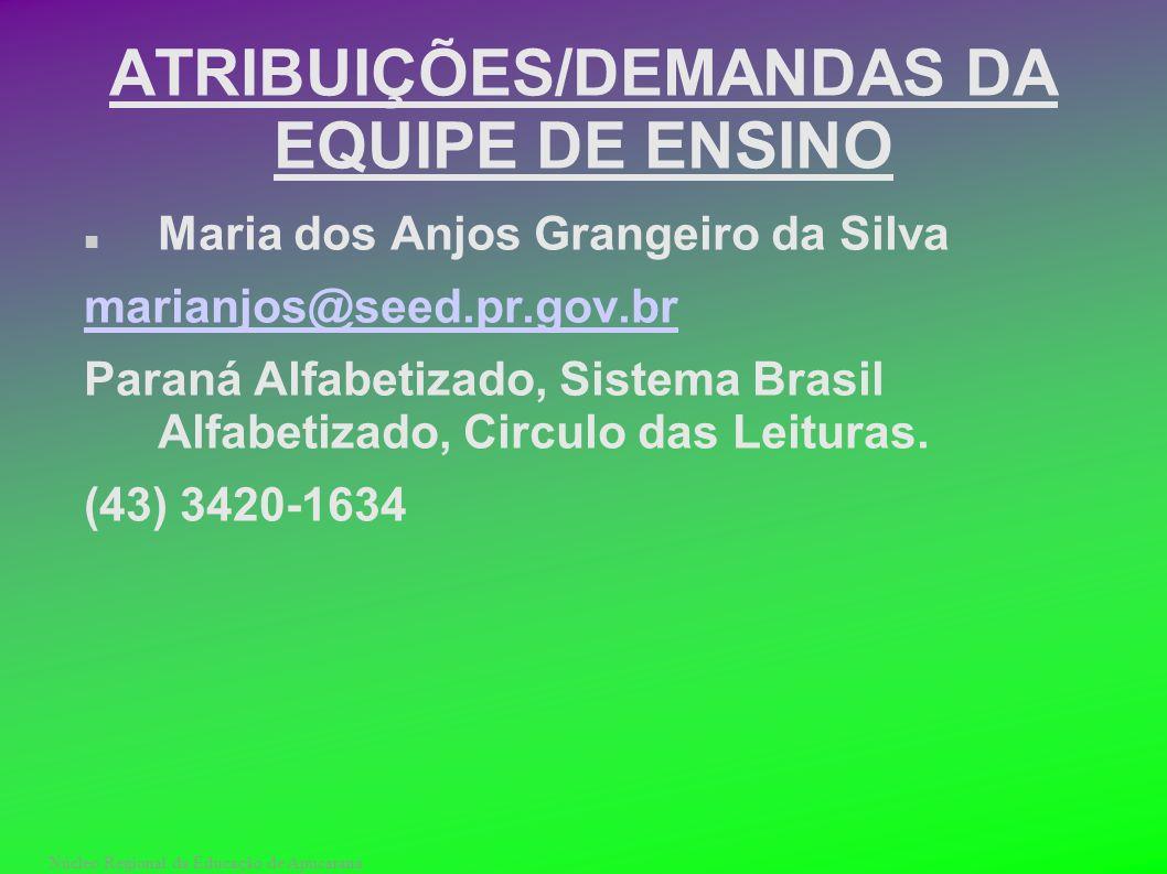 ATRIBUIÇÕES/DEMANDAS DA EQUIPE DE ENSINO