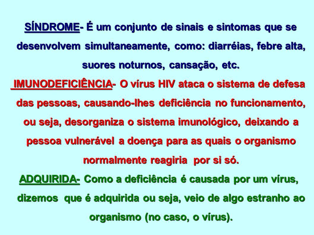 SÍNDROME- É um conjunto de sinais e sintomas que se desenvolvem simultaneamente, como: diarréias, febre alta, suores noturnos, cansação, etc.