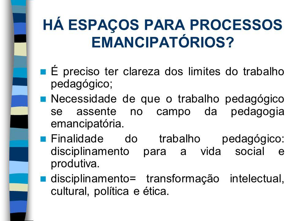 HÁ ESPAÇOS PARA PROCESSOS EMANCIPATÓRIOS