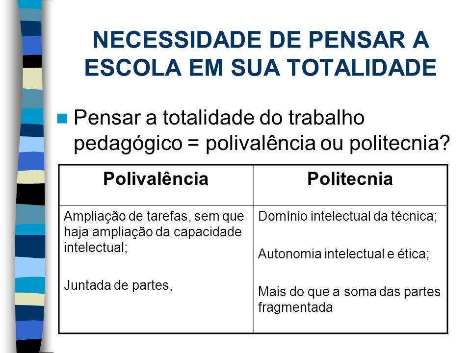 NECESSIDADE DE PENSAR A ESCOLA EM SUA TOTALIDADE
