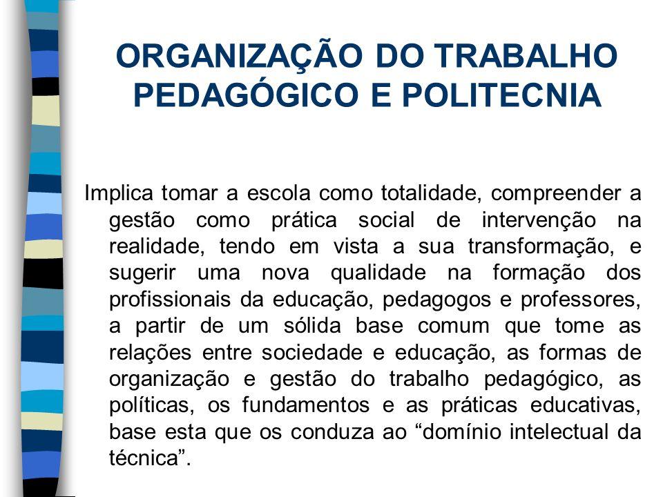 ORGANIZAÇÃO DO TRABALHO PEDAGÓGICO E POLITECNIA