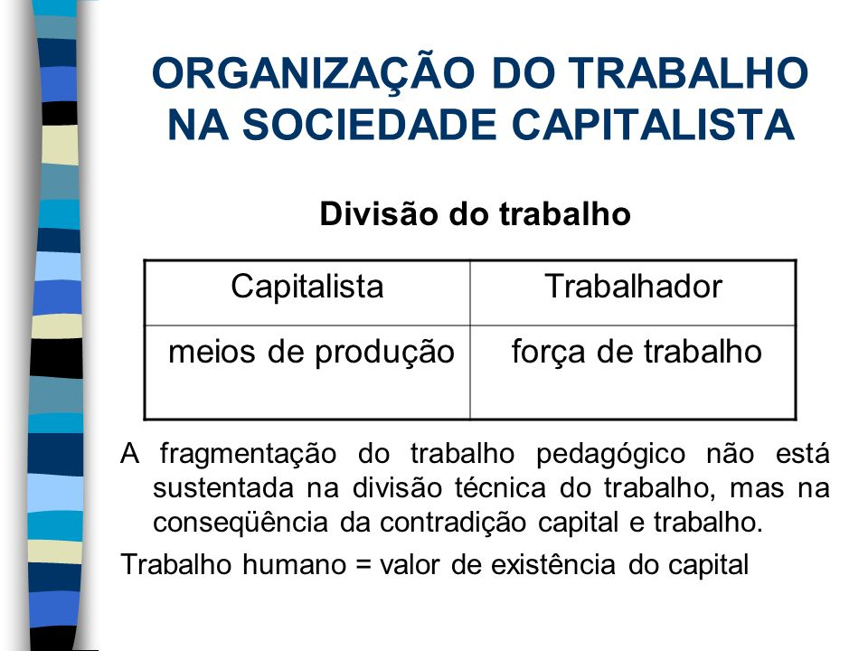 ORGANIZAÇÃO DO TRABALHO NA SOCIEDADE CAPITALISTA