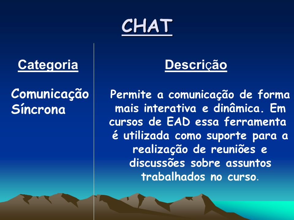 CHAT Categoria Descrição Comunicação Síncrona