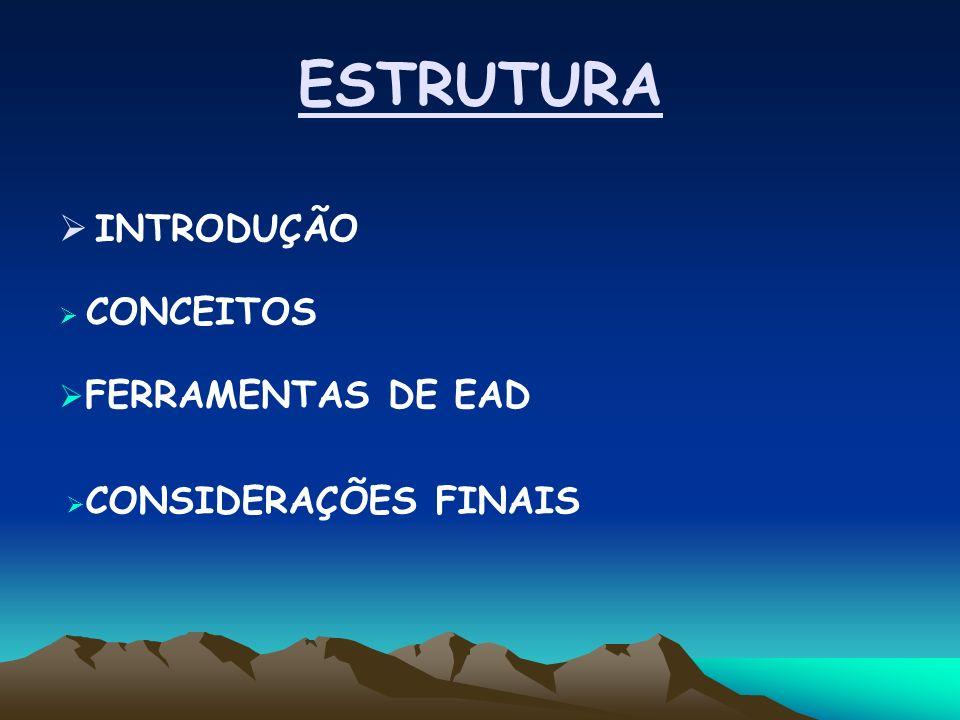 ESTRUTURA INTRODUÇÃO CONCEITOS FERRAMENTAS DE EAD CONSIDERAÇÕES FINAIS