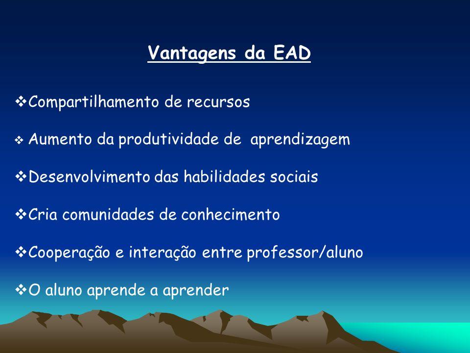 Vantagens da EAD Compartilhamento de recursos