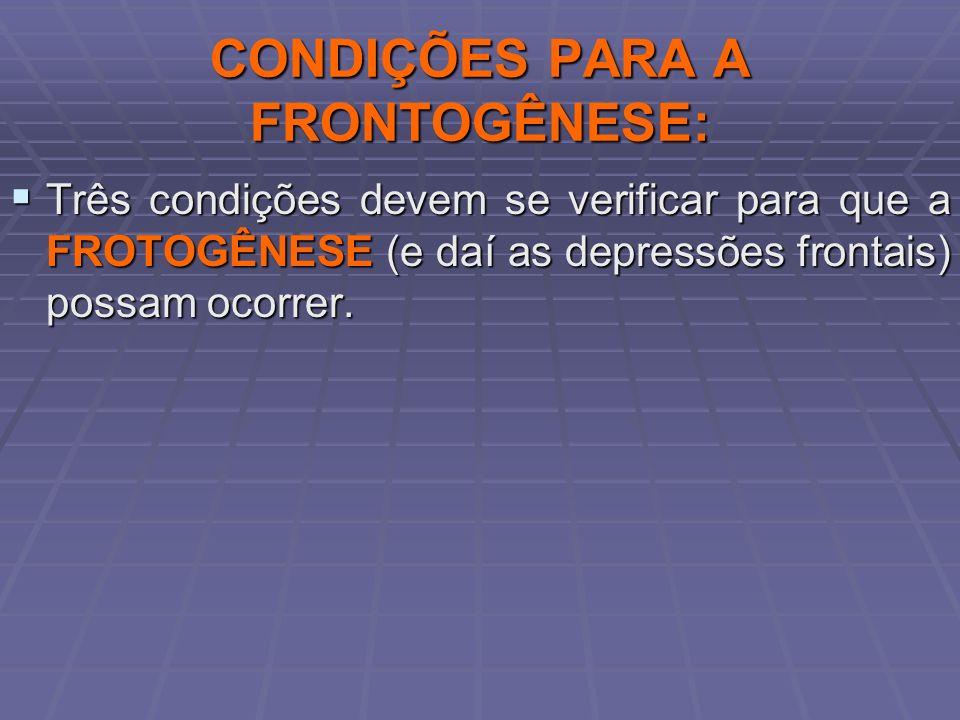 CONDIÇÕES PARA A FRONTOGÊNESE: