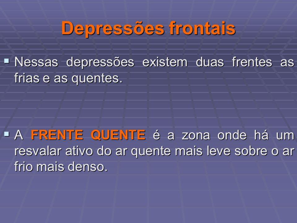 Depressões frontaisNessas depressões existem duas frentes as frias e as quentes.